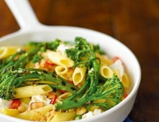 Quick goat's cheese and broccoli pasta