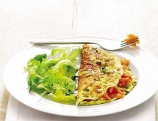 Speedy smoked salmon omelette