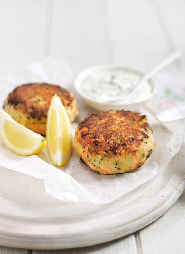 Cheat's trout fishcakes with herby crème fraîche