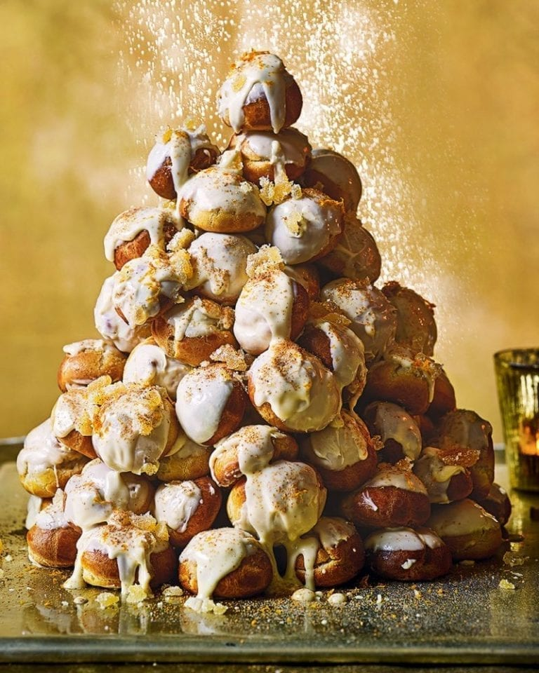White chocolate, orange and ginger profiteroles – video