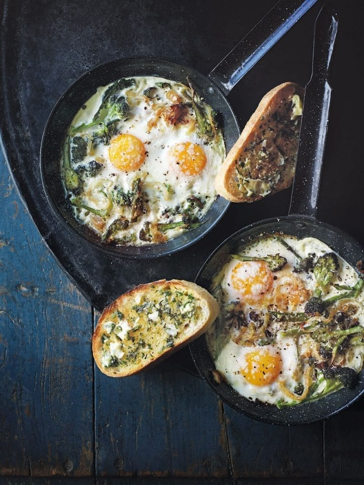 Baked broccoli and parmesan eggs – video