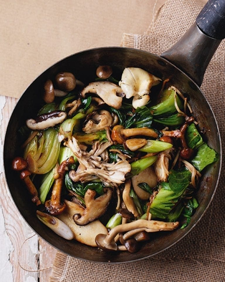 Oriental mushroom and pak choi stir-fry