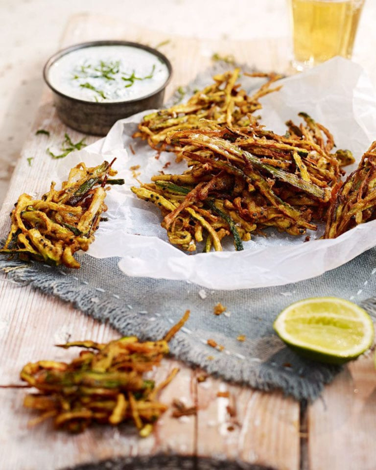 Spiced courgette fritters with mint and jalapeño dip