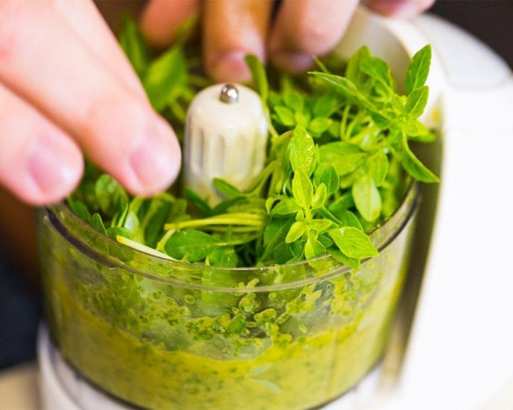 Herbs in a mixer