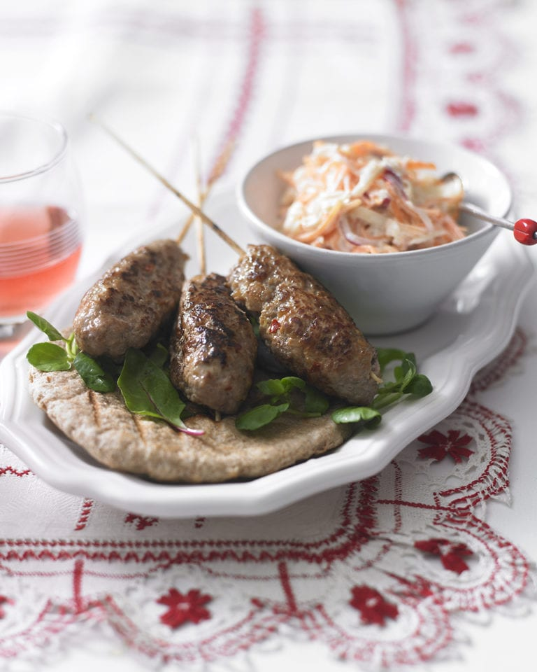 Quick pork koftas with slaw