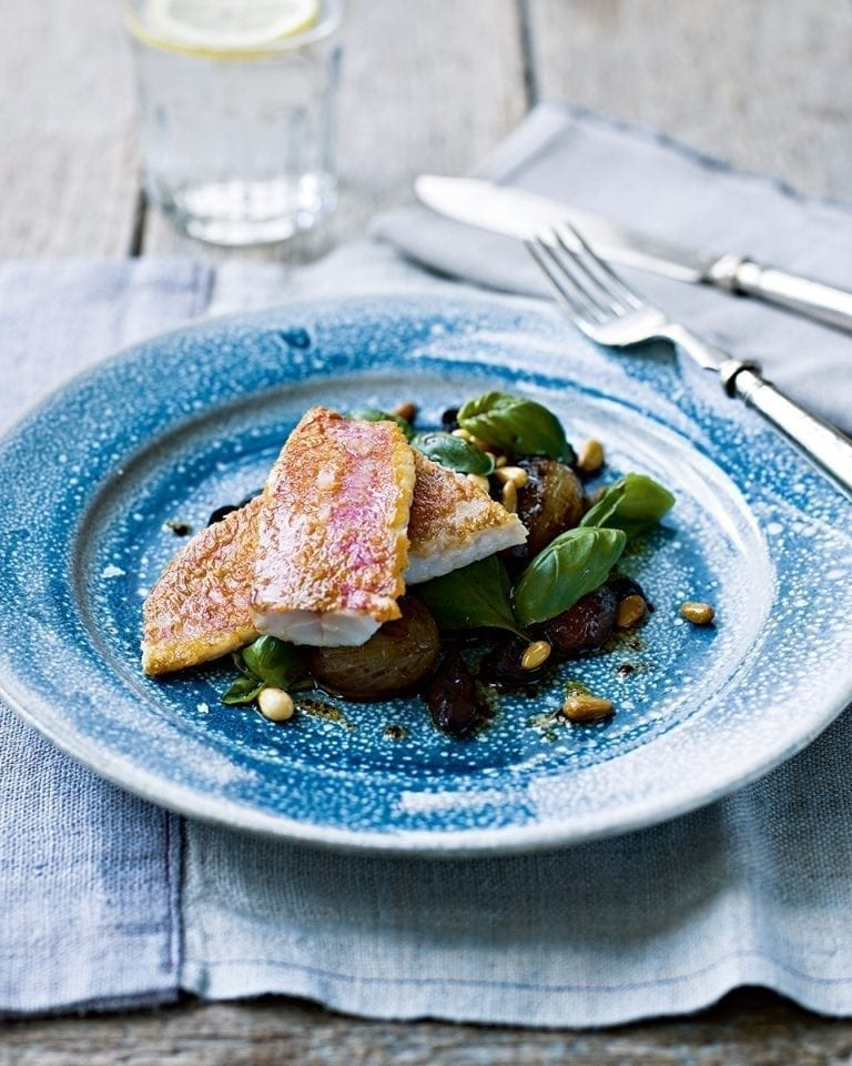 Pan-fried red mullet with a basil, olive and shallot salad