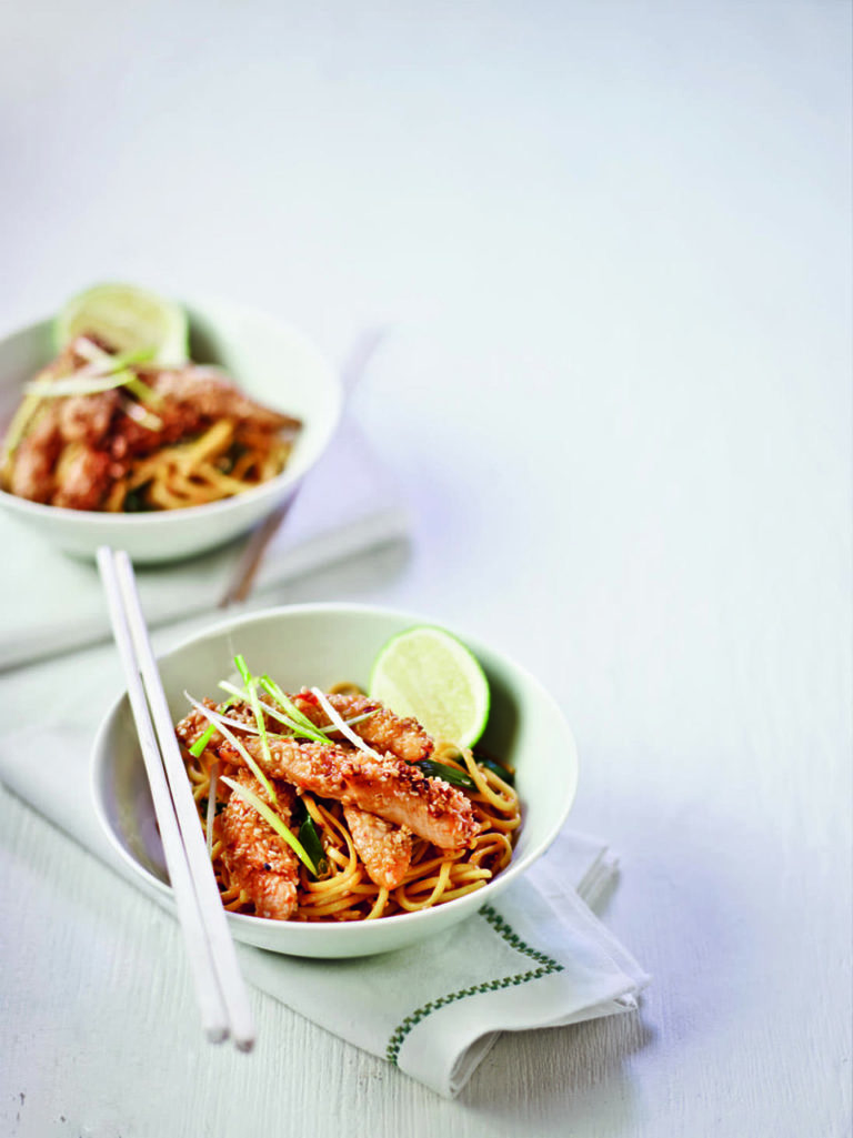 Sesame-crusted chicken with chilli and soy noodles