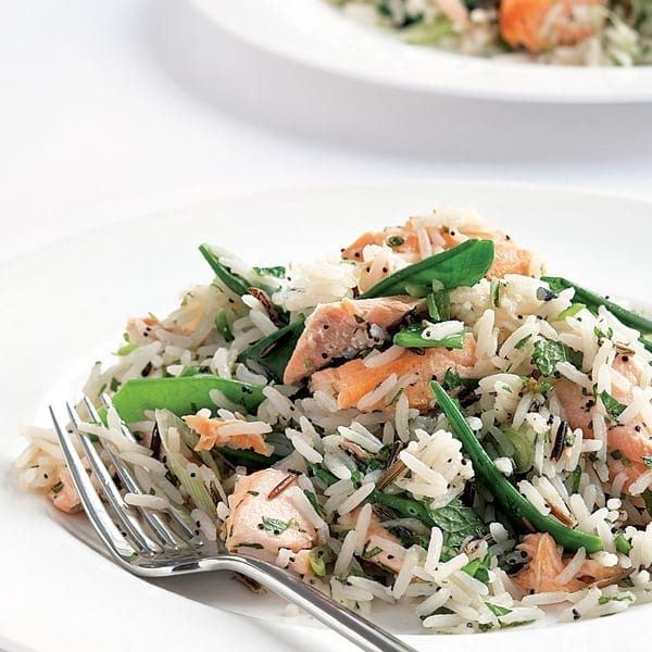 Wasabi-dressed salmon and basmati salad