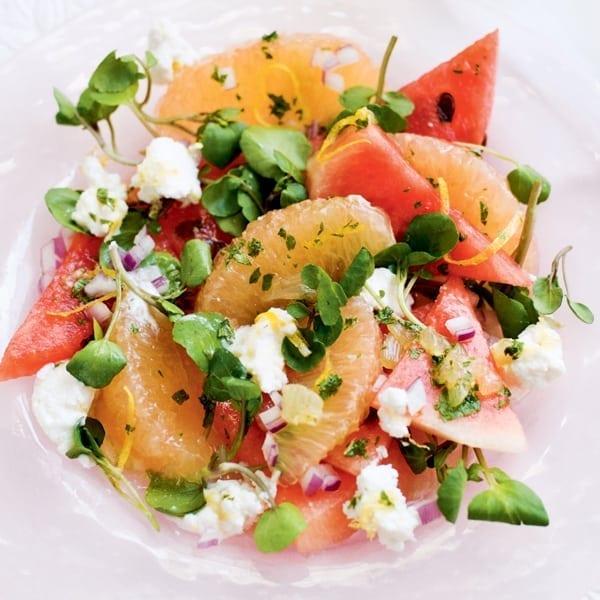 Grapefruit and watermelon salad