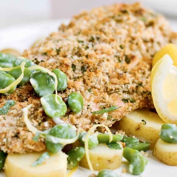 Crusted trout with minted lemon broad beans