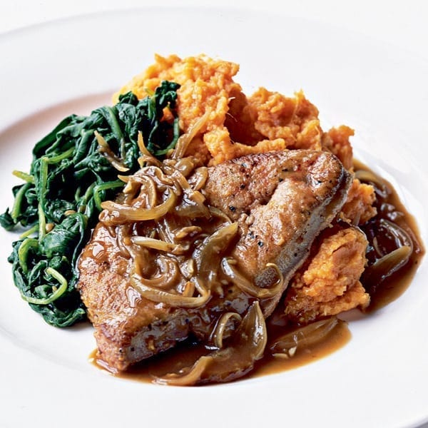 Peppered liver with a sweet potato mash