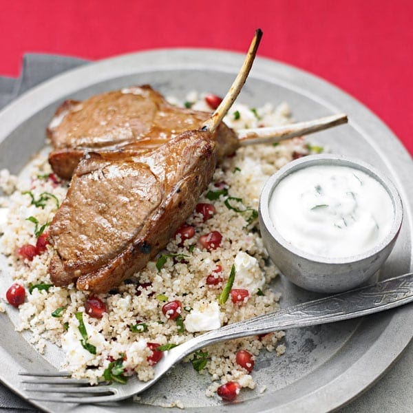 Quick lamb cutlets with feta and mint couscous