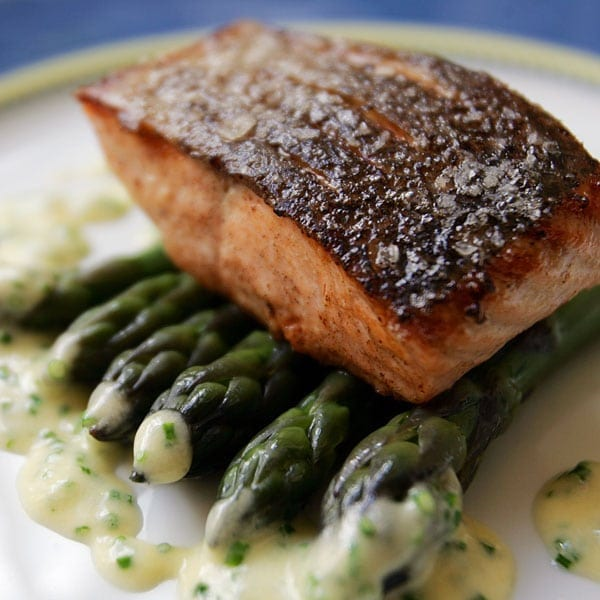 Loch Duart salmon fillet with chive and lovage sauce