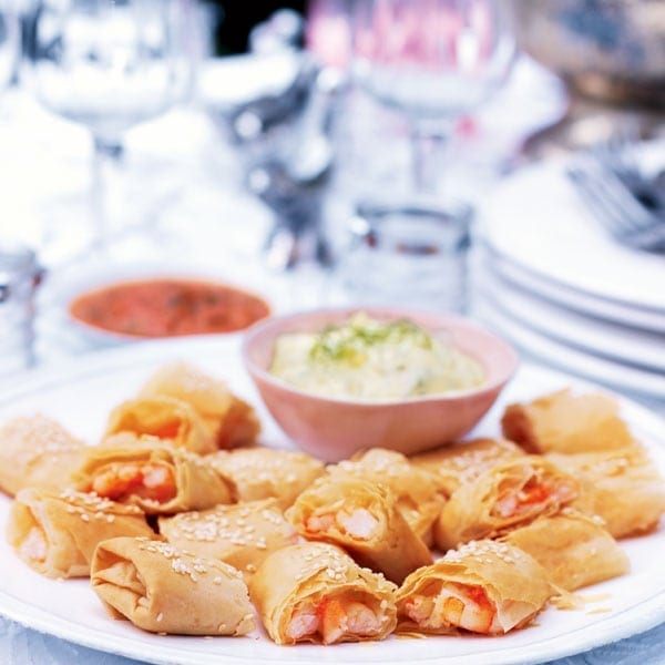 Prawn boreks with fennel mayonnaise and roasted red pepper dip