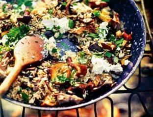 Wild mushroom and garlic rice