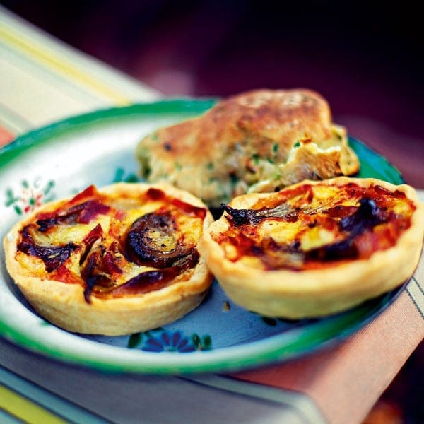 Bacon and shallot tarts
