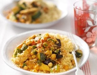 Cheat's chicken and vegetable tagine with lemon couscous
