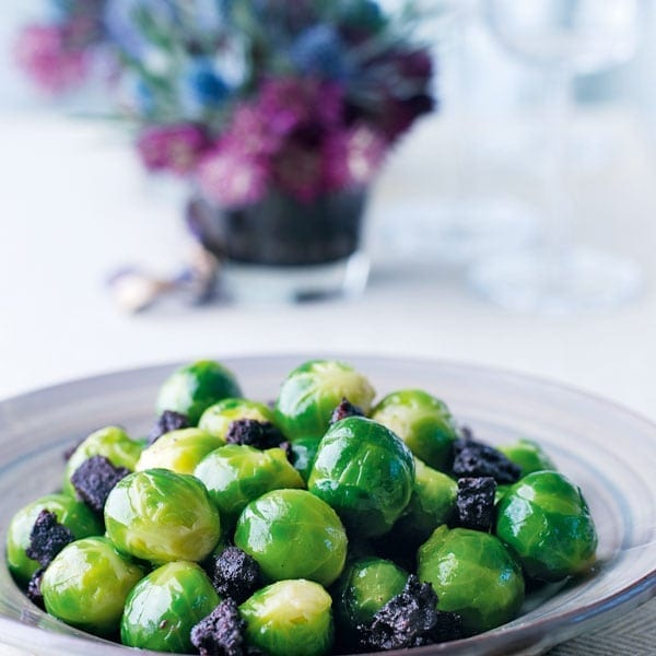 Sprouts with fried black pudding