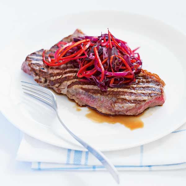 Quick griddled beef steaks with beetroot salad