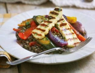 Puy lentils with roasted vegetables and griddled haloumi