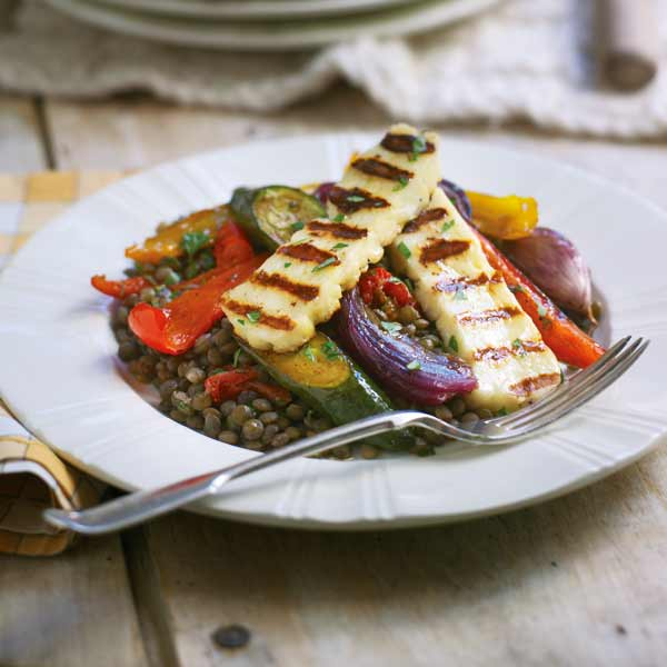 Puy lentils with roasted vegetables and griddled halloumi