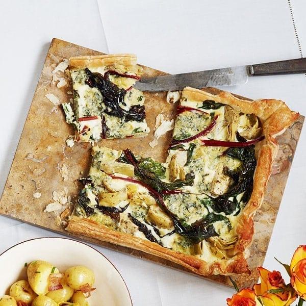 Chard, artichoke and blue cheese tart