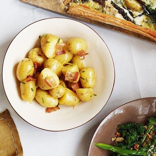 Warm lemon and chive potato salad