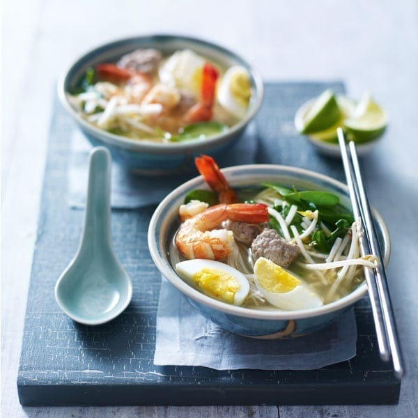 Pork and prawn noodle soup