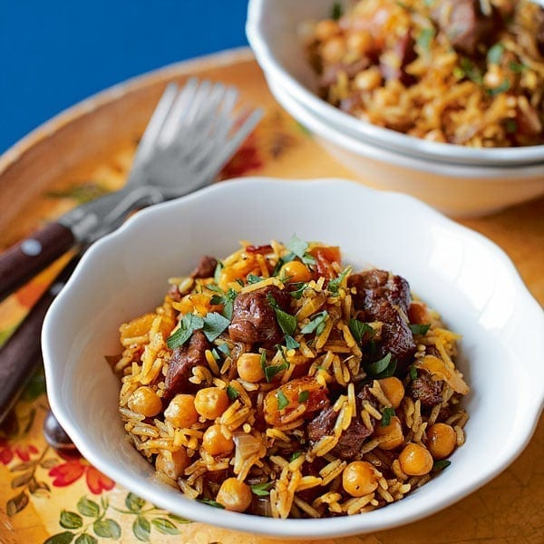 Lamb and chickpea pilaf
