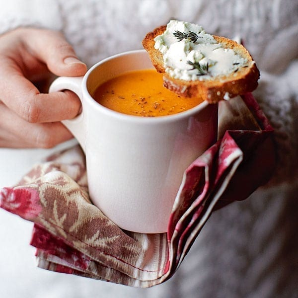 Squash and cumin soup with cheesy toasts