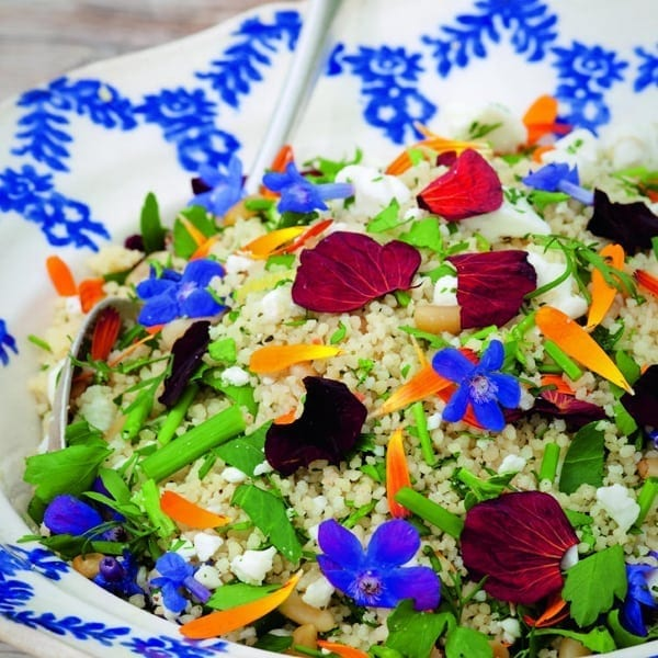 Edible flower couscous salad