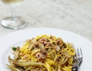 Taglierini with brown shrimps and artichokes