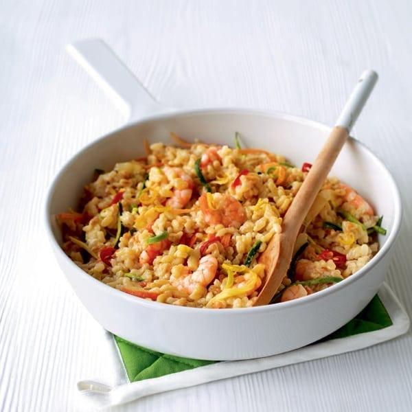 Prawn and veg risotto