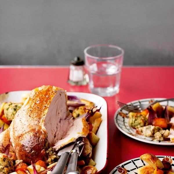Easy roast chicken with stuffing and veg