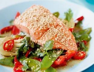 Sticky salmon with sesame