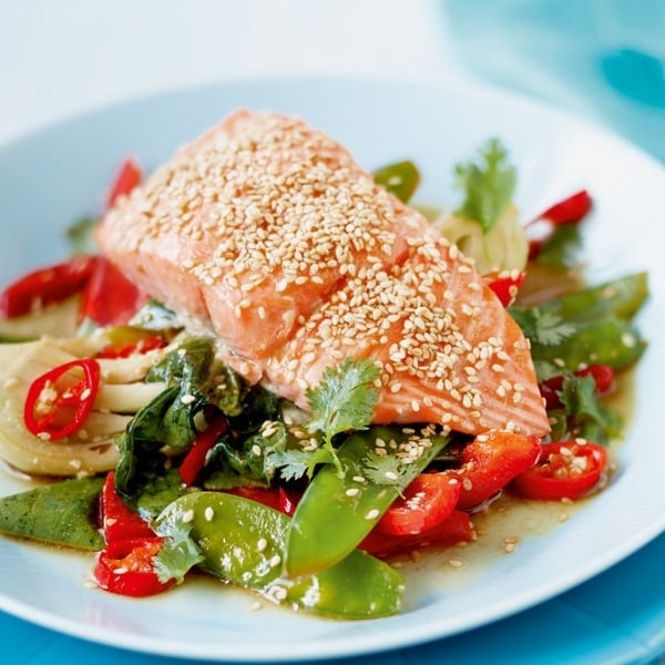 Sticky salmon with sesame