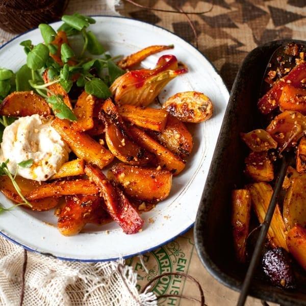 Warm roast vegetable salad with hazelnuts and rose harissa