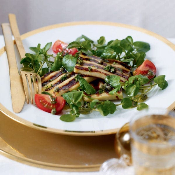 Halloumi with watercress