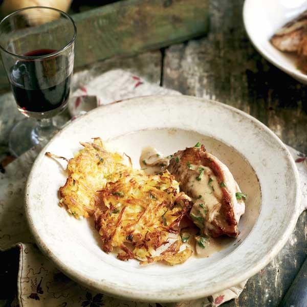 Pan-fried pheasant with celeriac and parsnip rösti