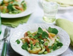 Potato and hot smoked salmon salad