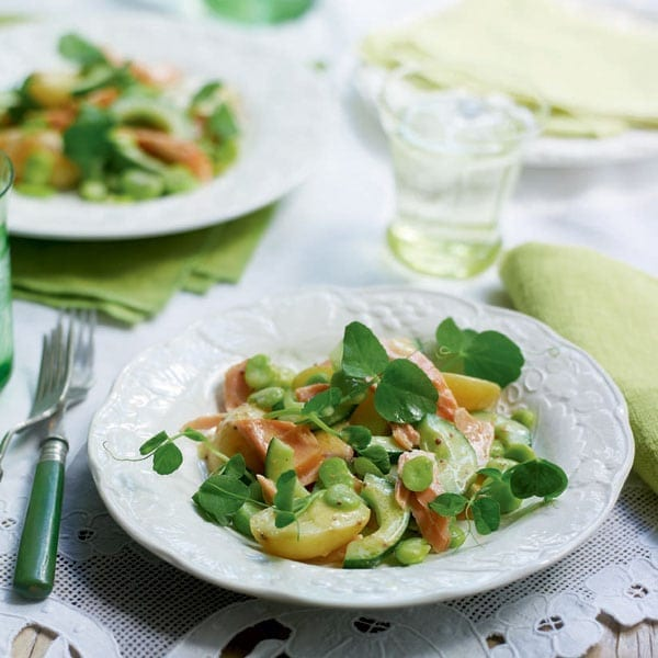 Potato and hot smoked salmon salad