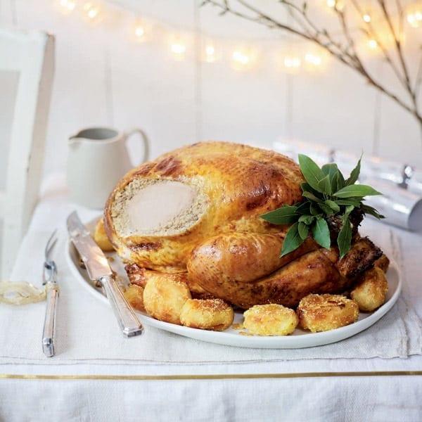 Spiced roast turkey with pork, cardamom and cashew stuffing