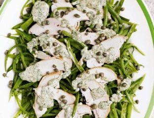 Smoked chicken and runner bean salad with salsa verde dressing