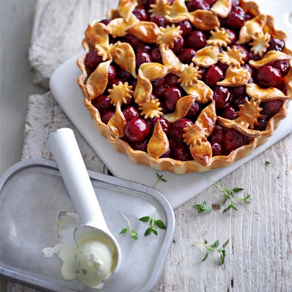 Deep-dish cherry pie with lemon thyme ice cream