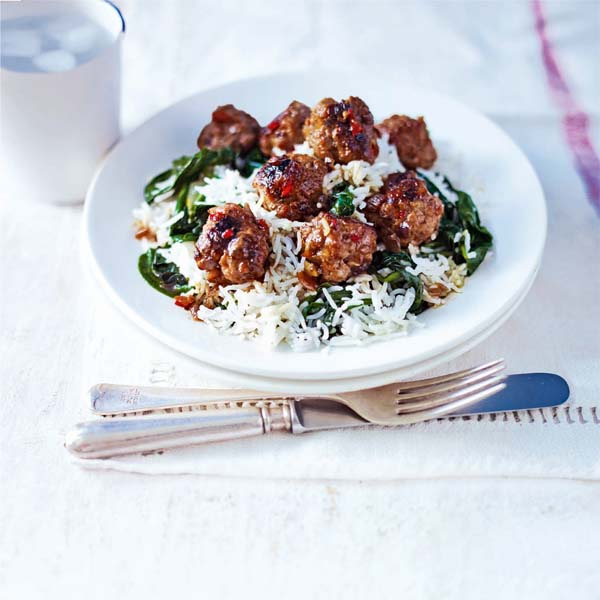 Sticky spiced soy meatballs with spinach rice
