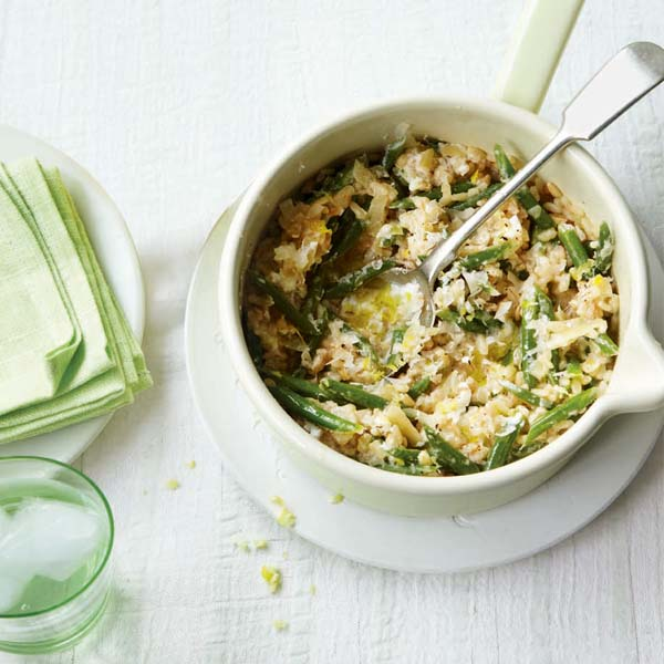 Green bean and ricotta three-grain risotto