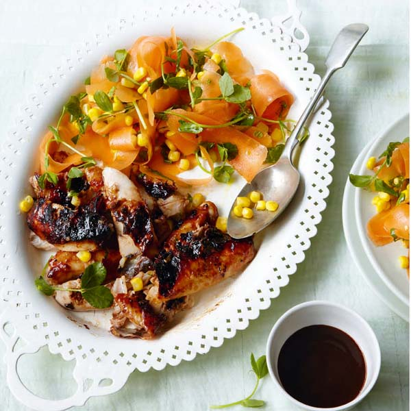 Sticky roast chicken thighs with carrot, sweetcorn and herb salad