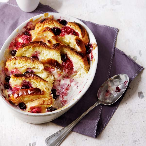 Berry and lemon curd bread and butter pudding