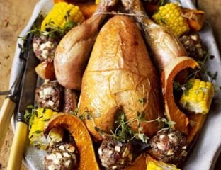 Roast chicken with chestnut and apple stuffing balls