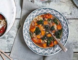 Roast butternut squash, kale and orzo soup